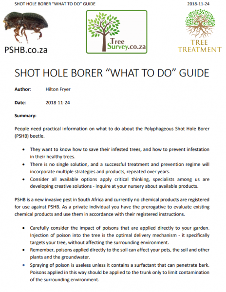 "PSHB SHOT HOLE BORER ""WHAT TO DO"" GUIDE"